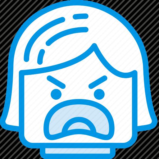 angry, emoji, emoticon, face, girl icon