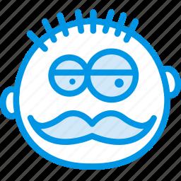 emoji, emoticon, face, manly icon