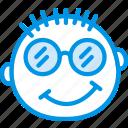 emoticon, face, emoji, nerdy