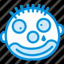 emoticon, emoji, clown, face