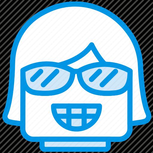 emoji, emoticon, face, girl, smug icon