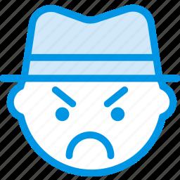 emoji, emoticon, face, gangster icon