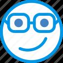 emoji, emoticon, face, nerdy