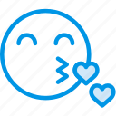 emoji, emoticon, face, kiss icon