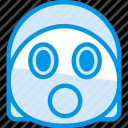 emoji, emoticon, face, shocked icon