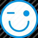 emoticon, emoji, winking, face