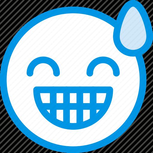 emoji, emoticon, face, relieved icon