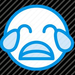 crying, emoji, emoticon, face icon