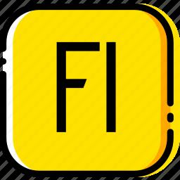 adobe, file, flash, player, type, yellow icon