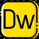 adobe, dreamweaver, file, type, yellow icon
