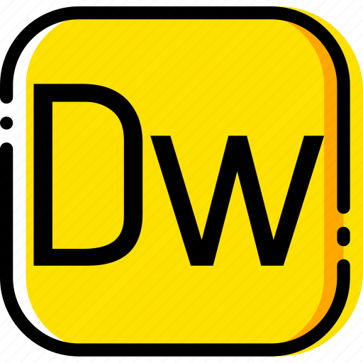 adobe, dreamweaver, file, type, yellow icon
