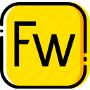 adobe, file, fireworks, type, yellow icon
