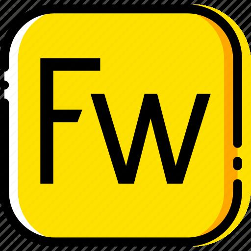 adobe, file, fireworks, type, yellow icon
