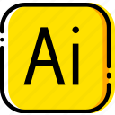 adobe, file, illustrator, type, yellow icon
