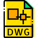 dwg, file, type, yellow icon