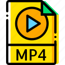 audio, file, mp4, type, yellow icon