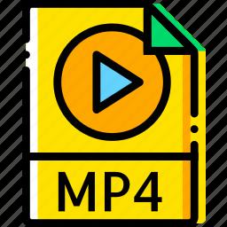 audio, file, mp4, type, yellow icon