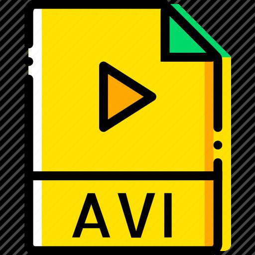 avi, file, type, video, yellow icon