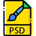 file, psd, type, yellow icon