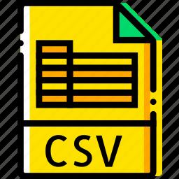 csv, file, type, yellow icon