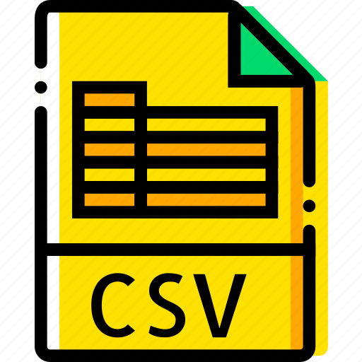 csv, file, type, yellow icon
