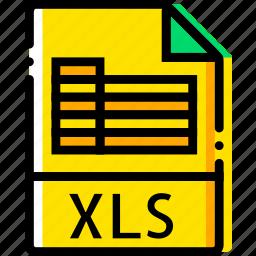 file, type, xls, yellow icon