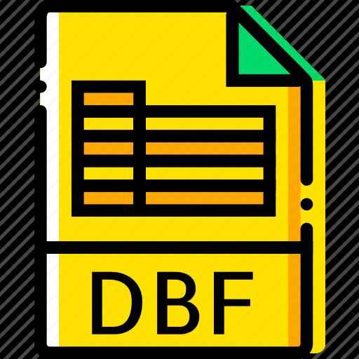 dbf, file, type, yellow icon