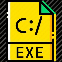 exe, file, type, yellow icon