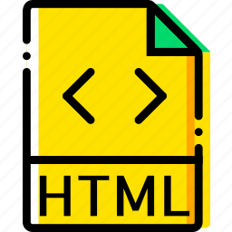file, html, type, yellow icon
