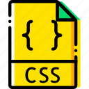 css, file, type, yellow icon