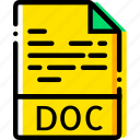 doc, file, type, yellow icon