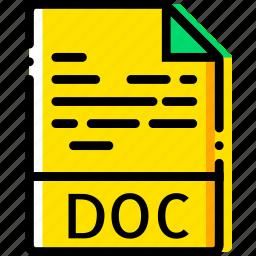 doc, file, type, yellow icon