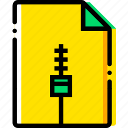 file, type, yellow, zip icon