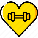 fitness, gym, health, love icon