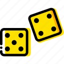 dices, game, play, roll, yellow icon