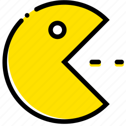 arcade, eat, game, pacman, yellow icon