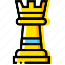 chess, game, rook, table, yellow icon