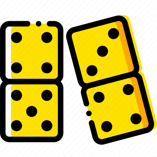 dominoes, gambling, game, play, yellow icon
