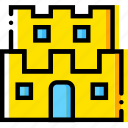 arcade, castle, game, mario, yellow icon