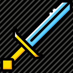 diamond, game, minecraft, sword, yellow icon