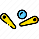 arcade, ball, game, pinball, yellow icon