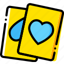 cards, game, heart, poker, yellow icon