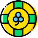 chip, gambling, game, poker, yellow icon