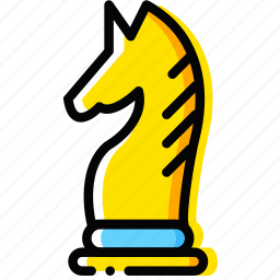 chess, game, knight, table, yellow icon