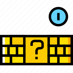 arcade, bricks, game, mario, yellow icon