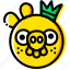 angry, birds, game, king, pig, yellow icon