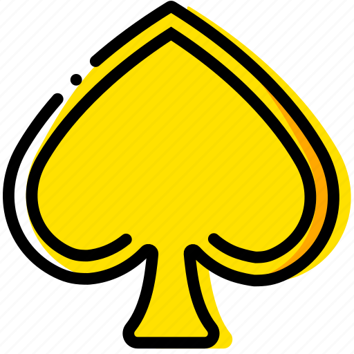 cards, game, poker, spades, yellow icon