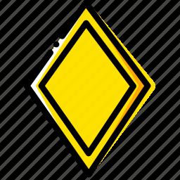cards, diamonds, game, poker, yellow icon