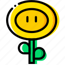 arcade, fireflower, game, mario, yellow icon