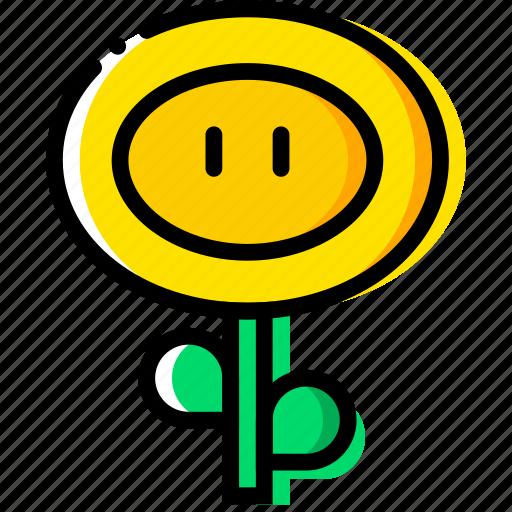 arcade, fireflower, game, mario, yellow icon